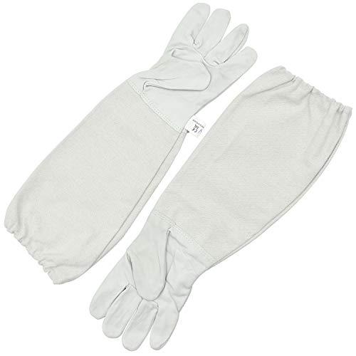 FEIGO Imkerhandschuhe Bienenzucht Handschuhe aus Ziegenleder mit belüftetem Langen Ärmel für den Anfänger Beekeeper, Männer, Frauen, Bienen (49x17cm)