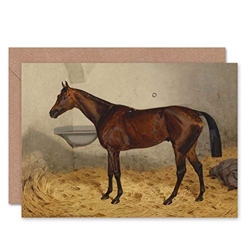 Wee blauwe Coo schilderij Interieur STUDY SPORT HORSE ADAM METTALIST ART GREETINGS KAART