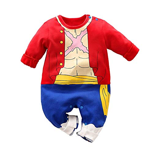 Baby Rompers Boys Girls Infants ONE Piece Cartoon Outfits Button Cotton Jumpsuit Long Sleeve Red&Blue2 3-6 Months/66