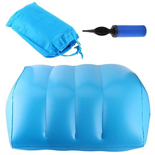 Pequeño y portátil Material de PVC Válvula de aire de doble capa Cojín para piernas Almohadilla inflable para piernas Almohada para piernas para relajar la presión en el cuello, los hombros(blue)