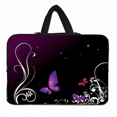 Yinghao 10 11 6 12 13 14 15 6 17 17 3 Laptop-Hülle Tasche Tragbare Hülle Tasche mit Neoprengriff Für Acer Aspire One Sony Dell XPS ASUS@Schwarzer Schmetterling_17 Zoll