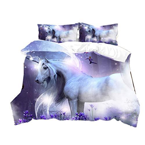 HNHDDZ Funda Nórdica 3D Animal Unicornio Blanco Caballo Juego de Cama Púrpura Galaxia Cielo Estrellado Rosado Floral Funda Nórdica y Funda de Almohada Niña (Estilo 3, 150x200 cm - Cama 90 cm)