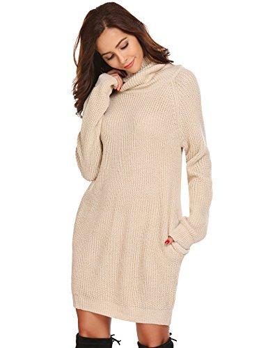Zeela Damen Herbst Winter Pullover Kleid Lang Rollkragenpullover Strickkleid mit Taschen , Farbe - Beige , Gr. XL