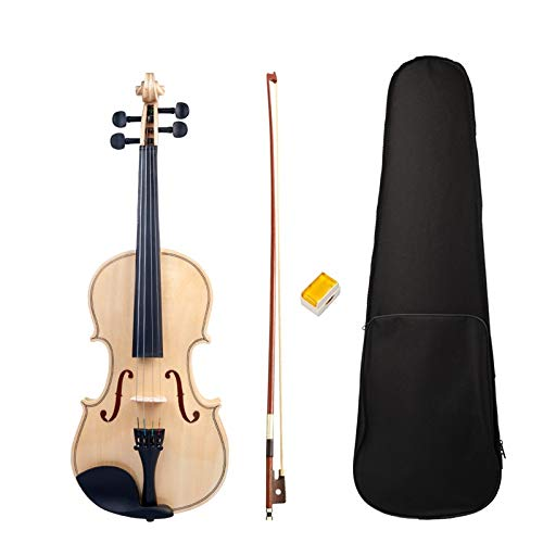 ABMBERTK,Violino, Violino Acustico, Violino Studente Adulto, Violino Full Size 4/4, Lucido Levigato, Violino Superficie, Set Scatola Arco Nuovo, Colore Legno