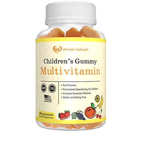 WHOLE NATURE Kids Vitamins - Complete Daily Essentials Childrens multivitamin and Minerals for Overall Wellness, 90 Gummies Supplements Fruit Flavor, No Artificial Sugar, Dairy and Gluten Free