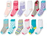 Spotted Zebra Kids' 12-Pack Crew Socks, Unicorn, Small (10-13)
