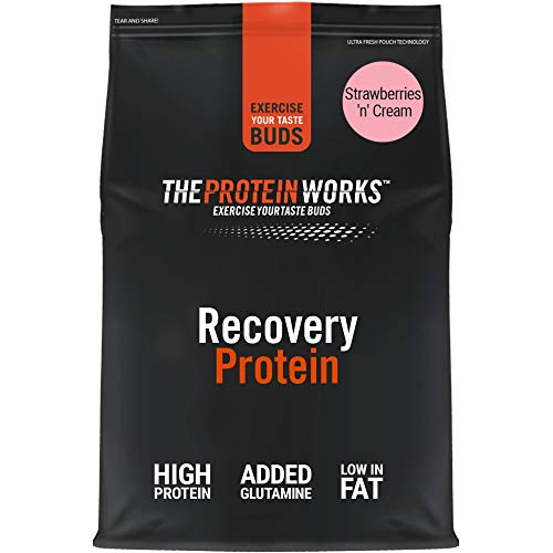 The Protein Works Recovery Protein Powder Shake, Grade Proteins, Strawberries n Cream, 500 g