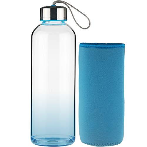 FCSDETAIL Sport Trinkflasche Glas Wasserflasche mit Neopren-Hülle 550 ml