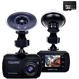 TOGUARD Mini Dash Cam(32GB Card Included) Full HD 1080P Car Blackbox Car Dash Cams DVR Dashboard Camera Built In G-Sensor Motion Detection Loop Recorder Night Vision