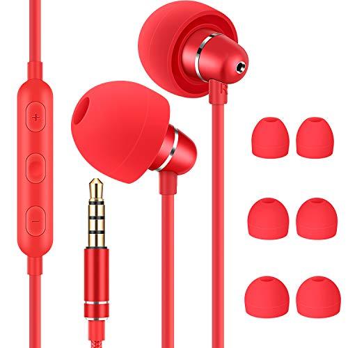 Bulees Auricolari per dormire, isolamento acustico, leggeri con cavo per canale uditivo piccolo, Auricolari con microfono e controllo volume per dormiente sensibile, per andare a dormire (rosso)