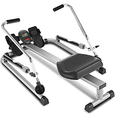 ANCHEER Hydraulic Rowing Machine, Full Motion Adjustable Rower with 12 Level Resistance & Soft Seat & LCD Monitor & 45 Inch Long Rail for Indoor Cardio Exercise, Home/Apartment (Gray)
