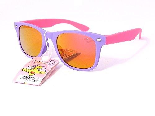 Gafas de sol, 4, 5, 6, 7 años, cristales polarizados posavasos 72173 Vh redondas unisex, color - monture mauve branches rose verres orange, tamaño largeur:120mm hauteur:40mm