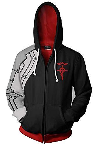 BeautifulTimes Fullmetal Alchemist Jacket Edward Elric Hoodie Adult Halloween Costume Cosplay Sweatshirt Black