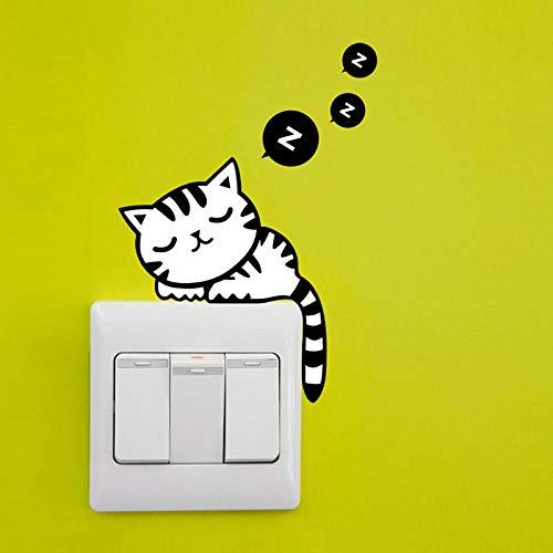 14x12cm 4 piezas de lindo gato interruptor pegatinas de pared vinilo mural decoración del hogar interruptor botón decoración DIY calcomanía
