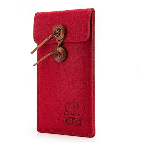 Motorize A.P. Donovan - Filz-Tasche Filzhülle - Schutzhülle - Handy-Socke aus Filz - Hülle Tasche aus Stoff Sleeve - Handy-Tasche - Rot, iPhone 5 / 5s