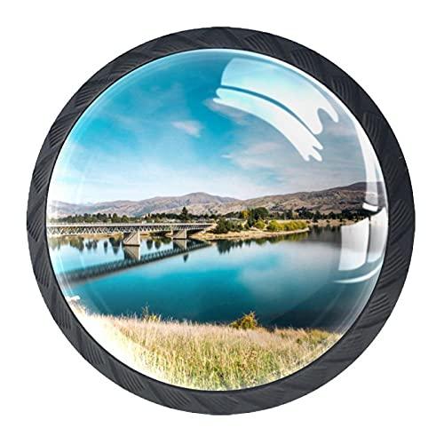 4 pomos redondos para cajones de cristal de 30 mm, tiradores de puente que cruzan el lago