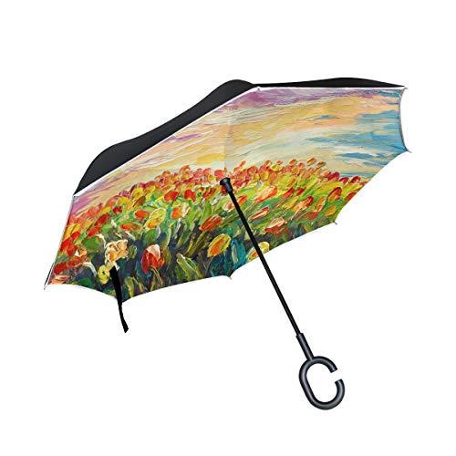 Paraguas Reversible invertido de Doble Capa Tulipanes Transparentes de Pintura al óleo en un Hermoso Paraguas Reversible Paraguas invertido a Prueba de Viento para Mujer Protección UV a Prueba de Vie