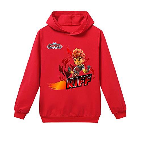 Gormiti Pullover La Camiseta de la Camiseta de Manga Larga de los niños de Moda de la Manera Salvaje Deportes Niños y niñas Casual Otoño Invierno niños (Color : Red01, Size : 120)