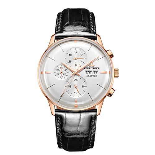 REEF TIGER Herren Uhr analog Automatik mit Leder Armband RGA1699-PWB