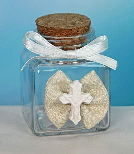 Subitodisponibile Lote de 20 tarros de Cristal para peladillas con diseño de Cruz de comunión