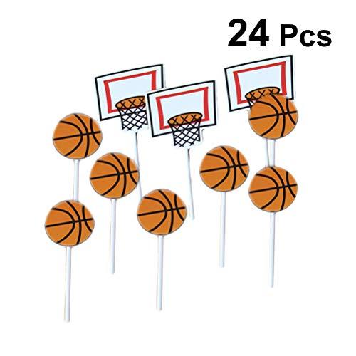 Amosfun 24 unids patrón de Baloncesto de Dibujos Animados Cake Toppers Sport Party Cupcake Toppers Selecciones Niños Cumpleaños Fiesta Familiar Suministros de Decoración
