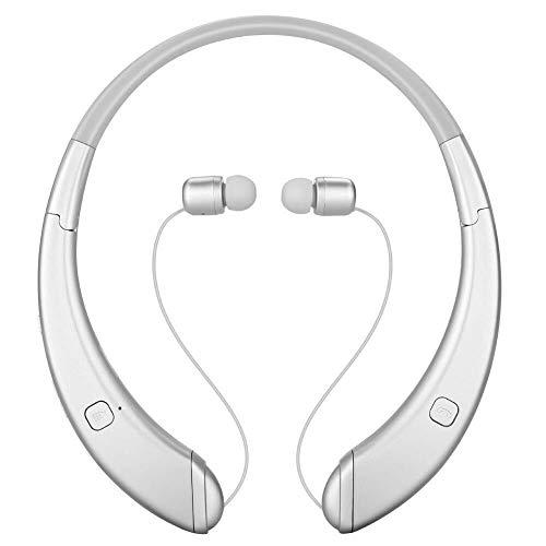 Casque Ecouteur, Brevet modèle privé Bluetooth Pliable Cou monté Sport Noir, Couleur: Argent (Color : Silver)