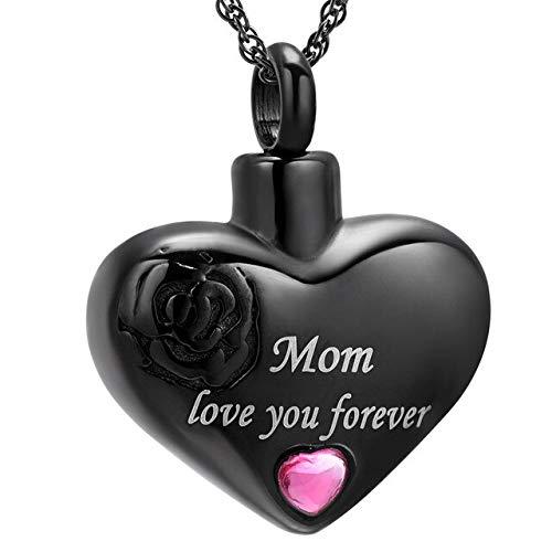 TIANZXS Mom Love You Forever Heart Cremación Joyas para Cenizas Colgante Locket Recuerdo de Acero Inoxidable Collar de urna Conmemorativa Negro
