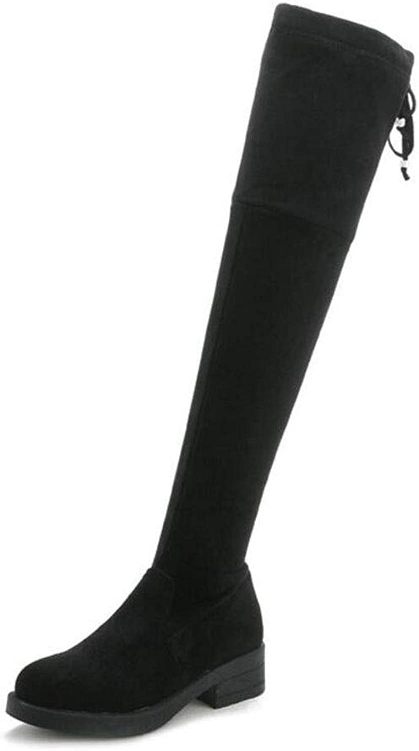 Women's Over-Knee Boots, Winter Comfort Fashion Boots Boots Chunky Heel Round Toe Thigh-high Boots (color   Black Single, Size   37)