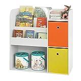 SoBuy KMB37-W Organizador de Juguetes Estantería Infantil con Cajas de Colores Estantería de Almacenamiento Multifuncional con 2 Cajas 89 x 35 x 88 cm ES