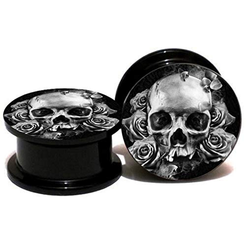 5pairs/set Flower Skull Ear Plug And Tunnel Ear Gauges Stretcher Expander 6mm-25mm Screw Plug Piercing