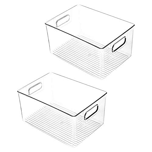 Andifany 2Pcs Gabinete de Despensa de Cocina de PláStico, Refrigerador o Congelador Contenedores de Comida o Libros con Manijas-Organizador para Bocadillos