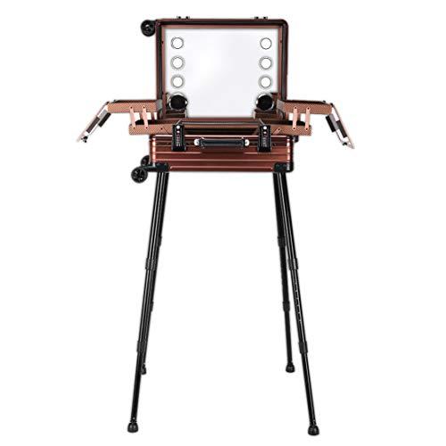 2019 nieuwe make-up trein case professionele artiest aluminium cosmetische bagage doos met code slot led spiegel salon afsluitbare reizen trolley case mode schoonheid gratis staande werkstation BRON