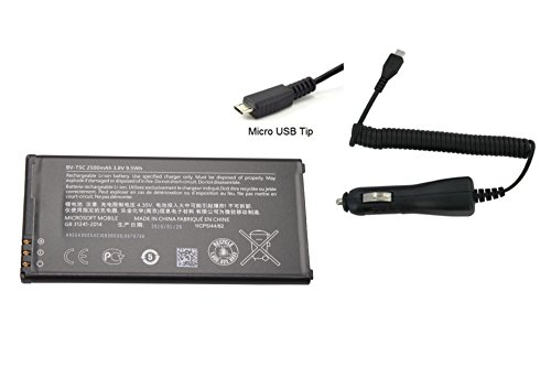 Original Nokia / Microsoft Battery BV-T5C 2500mAh 3.8V For Nokia Lumia 640 with Universal Car Charger ( Non-Retail Pack )
