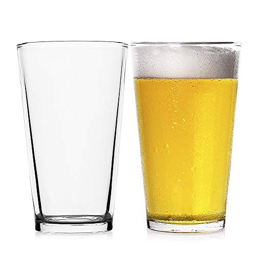 LUXU Classic Beer Pint Glasses(16 oz),Premium Pub Beer Glasses with Thick Base,Versatile Cocktail Shaker Beer Glass,Clear Glass Bar Tumblers Cocktail Mixing Glass for Cold Beverages, Soda, Water(2Pcs)