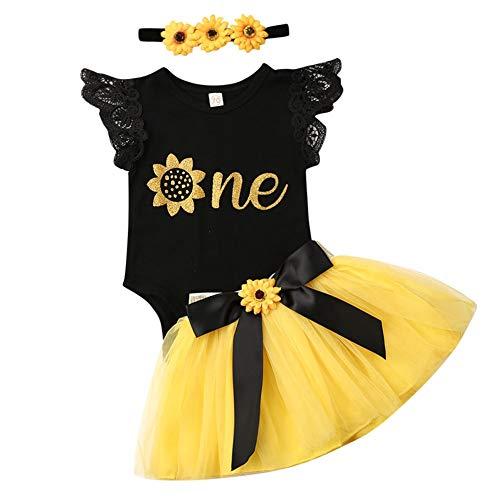 Geagodelia Babykleidung Set Baby Mädchen 1. Geburtstag Kleidung Outfit Body Strampler + Tüllrock Tütü Rock Neugeborene Kleinkinder Kindergeburtstag Geschenke 1 Jahr (Schwarz & Gelb 910 - Achselbody)