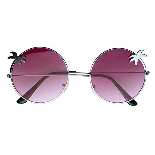 Emblem Eyewear - Indie Palm Tree Gradient Lens Redondo Hippie Gafas De Sol (Morado)