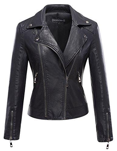 Tanming Women's Leather Coat Jacket (Large, Black6)