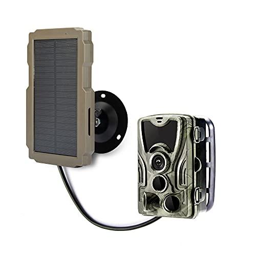 scosao Panel Solar para Cámara de Caza 9V 12V 2400 mAh Recargables Cargador Solar Bateria Impermeable IP65 Portatil Power Bank Solar para Cámara Fototrampeo y Viajes de Camping