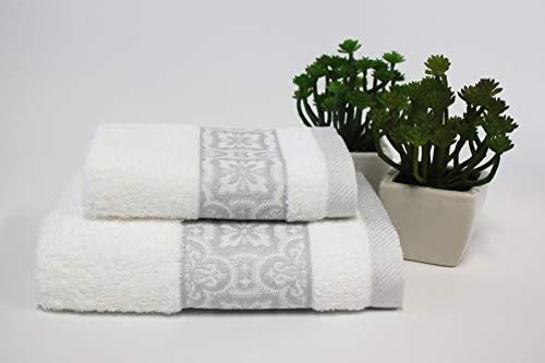 Set 1+1 Asciugamani da bagno Susy con Balza in Jacquard, Viso e Ospite misure: Viso: 50x100 cm. Ospite 38x58 cm. 100% cotone, spugna di alta qualità proveniente da Portogallo.(Bianco)