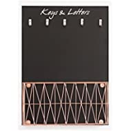 Blu Monaco Mail Organizer Wall Mount with Key Rack Hooks - Chalkboard for Notes with Copper...