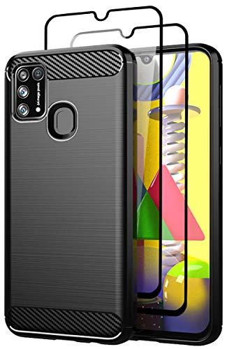 Teayoha Hülle für Samsung Galaxy M31 Hülle, mit Bildschirmschutzfolie aus gehärtetem Glas [2 Stück], kratzfest gegen Kohlefaser, stoßdämpfende weiche TPU Zeichnung Schutzhüllen Handyabdeckung - Schwarz