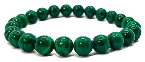 Pulsera elástica para hombre y mujer, con piedras preciosas naturales de 8 mm, para reiki, idea de regalo de cumpleaños, original difusor de energía para curar el equilibrio Malaquita original