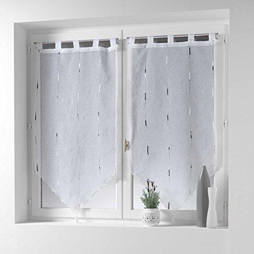 douceur d'intérieur 1624897 Chenilla Paire Pompon Passants Motif Voile Sable Fils Chenille Polyester Gris 90 x 60 cm