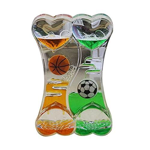 FHSMRING 1 reloj de arena líquido dinámico transparente, temporizador de gota de aceite, decoración de cristal para temporizadores del hogar (color de fútbol)