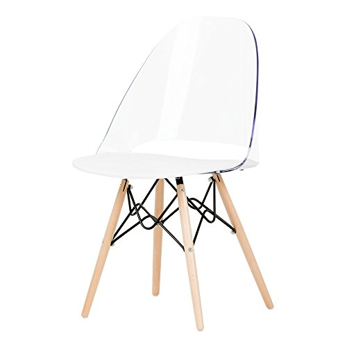 South Shore Annexe Mid-Century Modern Eiffel Office Chair, Wooden Legs, Clear and White