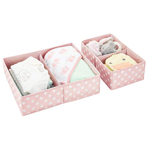 mDesign Juego de 2 organizadores de cajones para ropa y juguetes – Caja de tela para ordenar el cuarto infantil – Caja organizadora para guardar chupetes o toallitas húmedas – rosa/blanco