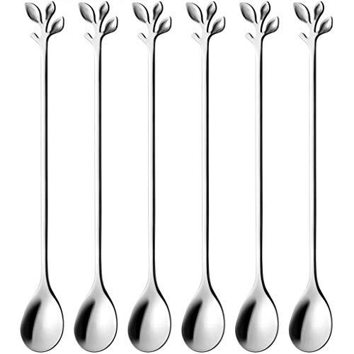 unkonw Hoja de acero inoxidable cuchara de agitación de alimentos de grado alimenticio creativo postre café exquisito oval cucharas regalo vajilla