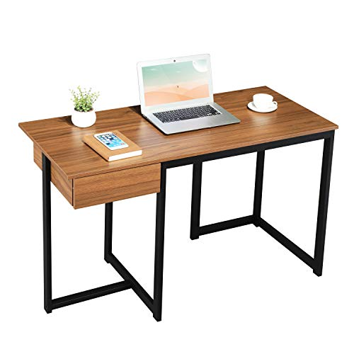 GreenForest Computer Desk 47 inches with Storage Drawer for Home Office Writing Desk, Modern Simple Study Desk PC Laptop Workstation, Walnut