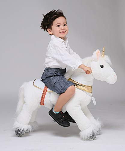 UFREE Horse Great Present for kids Action Pony Toy, Ride on for kids aged 3 to 6 (unicorn with golden horn)