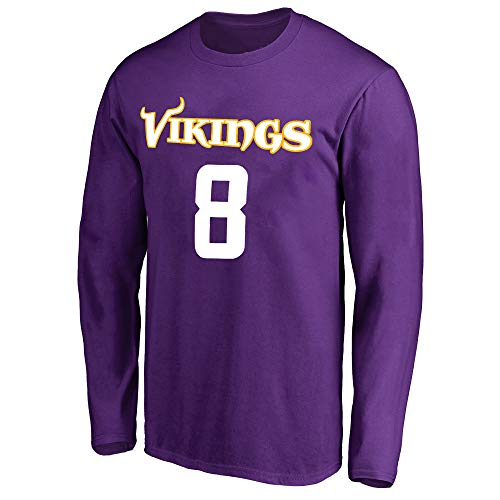 NFL Youth Team Color Mainliner Player Name and Number Long Sleeve Jersey T-Shirt (Small 8, Kirk Cousins Minnesota Vikings Purple)